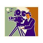 Cameraman Film Crew Vintage Video Movie Camera by retrovectors