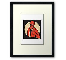 construction worker thumb up retro Framed Print