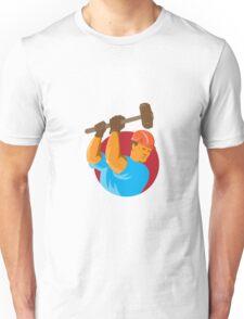 construction worker with sledgehammer Unisex T-Shirt