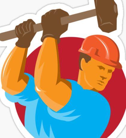 construction worker with sledgehammer Sticker