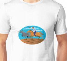 Cowboy Riding Horse Lasso Bull Cow Unisex T-Shirt
