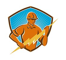 Electrician Construction Worker Retro  by retrovectors