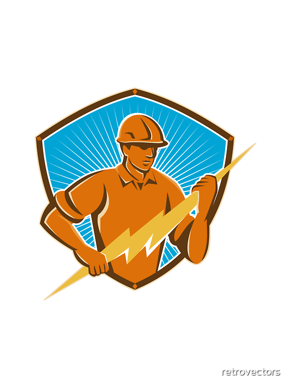 Electrician Construction Worker Retro  by retrovectors
