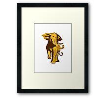 african bull elephant charging retro Framed Print
