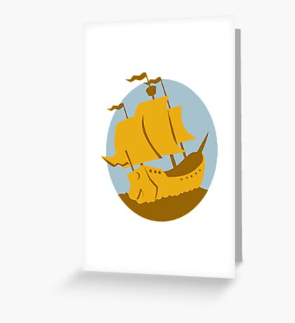 sailing ship galleon retro Greeting Card