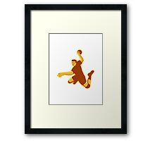 handball player jumping striking retro Framed Print