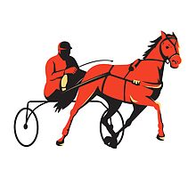 harness horse cart racing retro by retrovectors