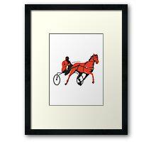 harness horse cart racing retro Framed Print