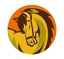 horse stallion head retro by retrovectors