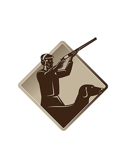 hunter shooting rifle retriever dog retro by retrovectors