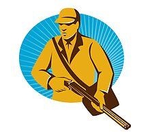 hunter hunting with shotgun rifle retro by retrovectors