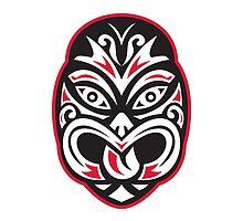 maori tiki moko tattoo mask by retrovectors