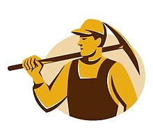 miner worker with pick ax retro by retrovectors