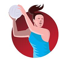 netball player passing ball retro by retrovectors