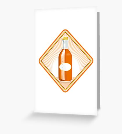 orange soda bottle sunburst retro Greeting Card