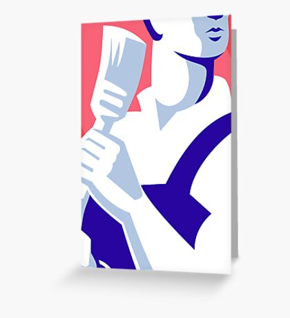 painter worker paint brush retro Greeting Card