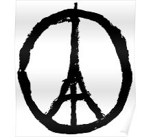 EIFFEL TOWER PEACE SIGN PRAY FOR PARIS Poster