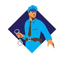 policeman police officer with handcuffs by retrovectors