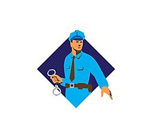 policeman police officer with handcuffs Photographic Print