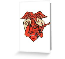 soldier swat policeman rifle eagle shield Greeting Card
