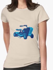 vintage ride on lawn mower retro Womens Fitted T-Shirt