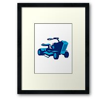 vintage ride on lawn mower retro Framed Print