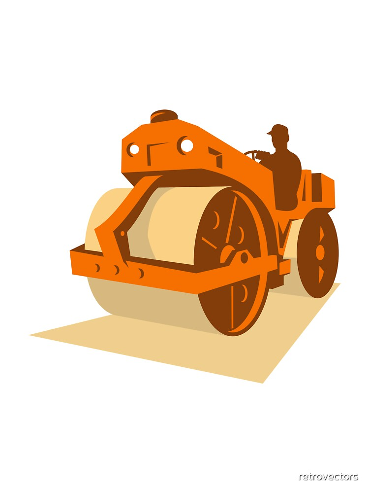 construction road roller retro by retrovectors