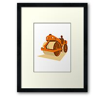 construction road roller retro Framed Print