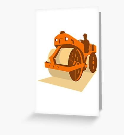 construction road roller retro Greeting Card