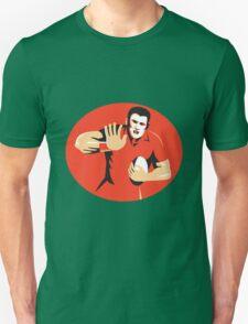 rugby player fending ball retro Unisex T-Shirt