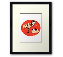 rugby player fending ball retro Framed Print
