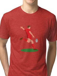 rugby player kicking ball retro Tri-blend T-Shirt