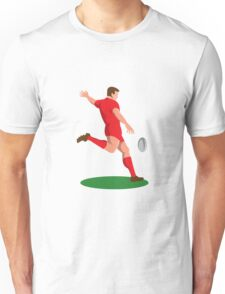 rugby player kicking ball retro Unisex T-Shirt