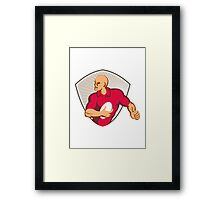 Rugby Player Running With Ball Retro Framed Print