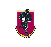rugby player running passing ball retro Photographic Print