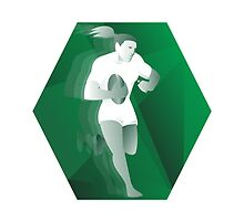 female rugby player running with ball retro by retrovectors