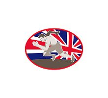 runner track and field athlete british flag Photographic Print