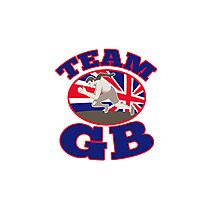 team gb runner track and field athlete british flag Photographic Print