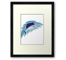 sailfish jumping retro style Framed Print