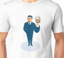 businessman secret agent showing id card badge wallet Unisex T-Shirt