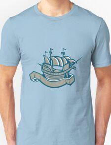 sailing ship galleon scroll T-Shirt