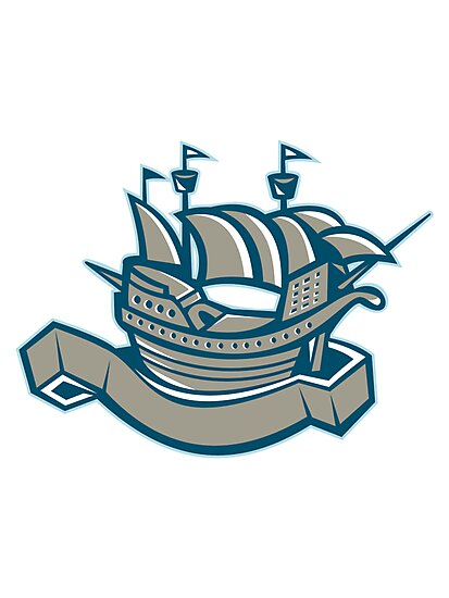 sailing ship galleon scroll by retrovectors