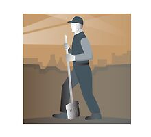 cleaner street sweeper with broom working retro by retrovectors