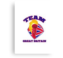 Team Great Britain hand hold flaming torch retro Canvas Print
