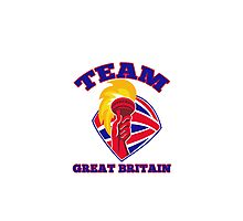 Team Great Britain hand hold flaming torch retro Photographic Print