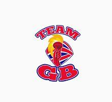 Team GB hand hold flaming torch british flag retro Unisex T-Shirt