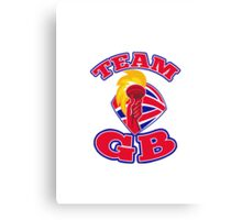 Team GB hand hold flaming torch british flag retro Canvas Print