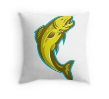 trout fish jumping retro Throw Pillow