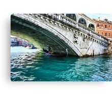 Classic Venice - A Gondola Under Rialto Bridge  Canvas Print