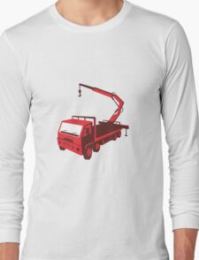 truck mounted crane cartage hoist retro Long Sleeve T-Shirt